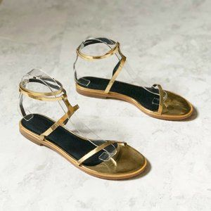 Tibi Flat Sandals 39 / 9 Pale Gold Strappy Colby